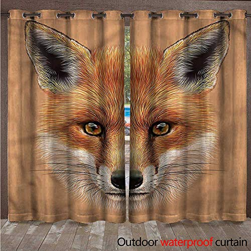 - cobeDecor Fox 0utdoor Curtains for Patio Waterproof Cute Fluffy Face Forest W72 x L108(183cm x 274cm)