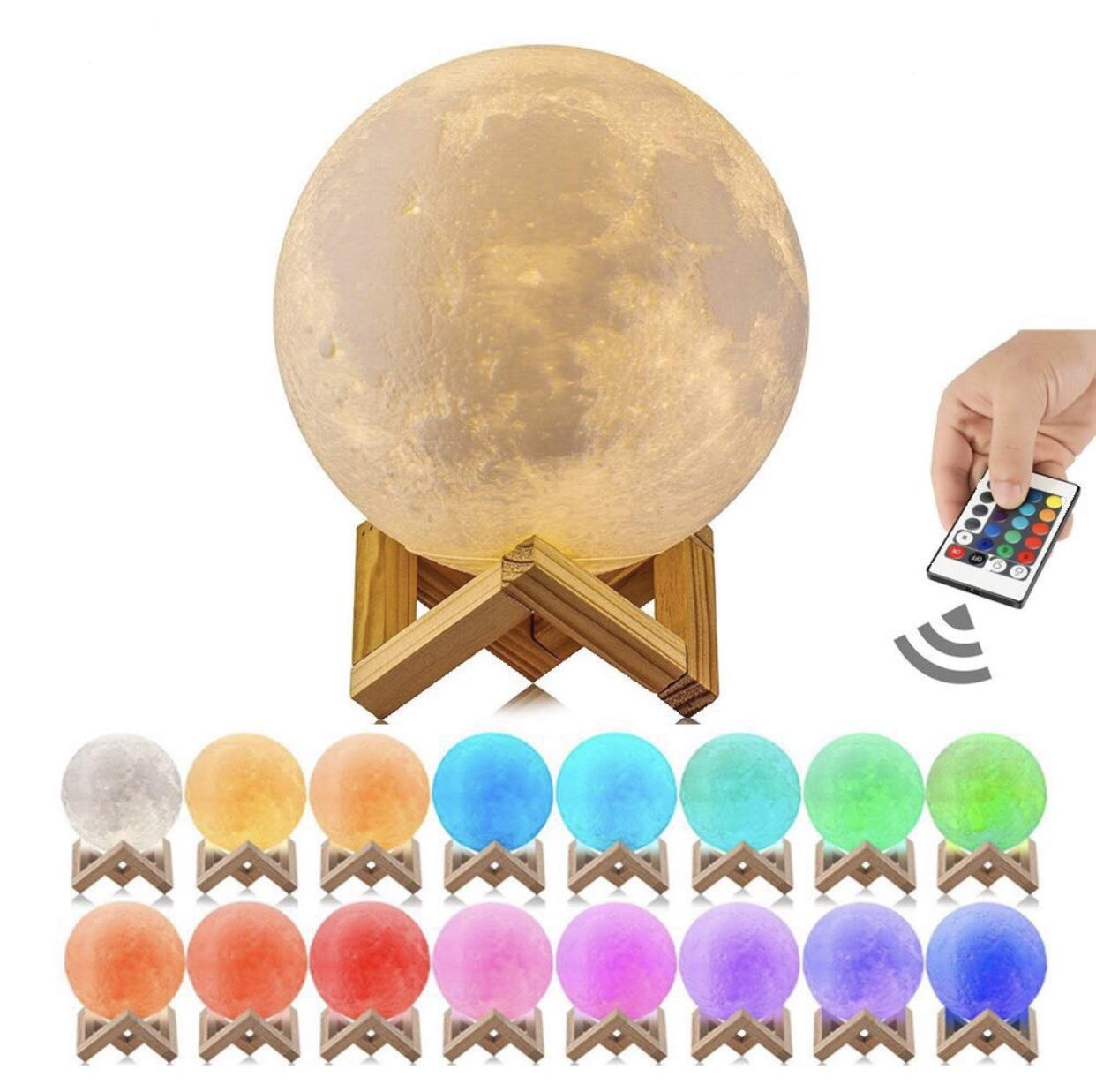 Astro-Night Moon Lamp, 3D Printed 16 Color LED Moon Night Light, USB Recharge, Remote Control & Touch Sensor, Adjustable Brightness(5.9 INCH) for Babies/Children Best Gift for Friends & Admirers
