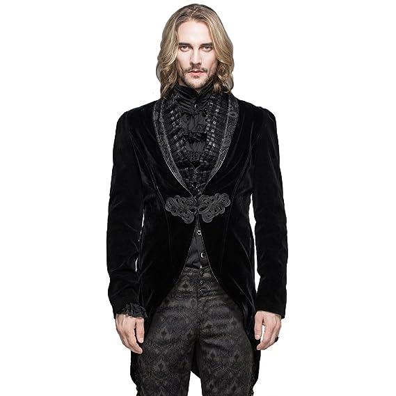 Devil Fashion Gothic Men s Retro Victorian Long Swallowtail Jackets  Steampunk Gentleman Party Cocktail Medieval Coats ( 080e9075c1a