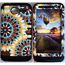 Cellphone Trendz (TM) Hybrid Rocker High Impact Bumper Case Psychedelic Tie-Dye Aztec Tribal / Black Silicone for Motorola Electrify M XT901