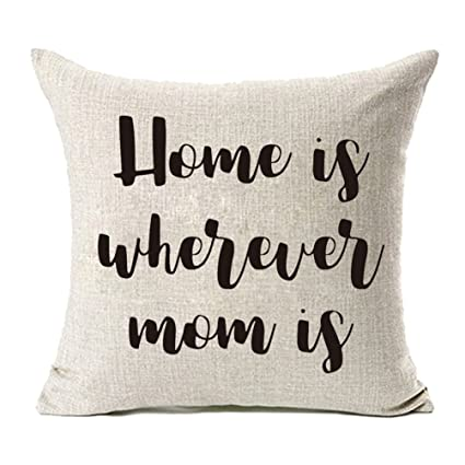 Amazon MFGNEH Home Is Wherever Mom Cotton Linen Throw Pillow