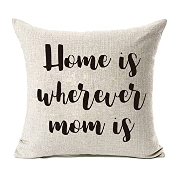 a0a13f1dcda65 MFGNEH Home is Wherever Mom is Cotton Linen Throw Pillow Covers, Pillow  Case Cushion Cover 18 x 18,Mom Birthday Gifts,Mom Gifts