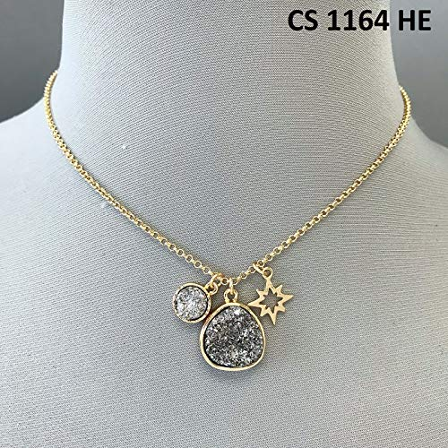 Simple Gold Finished Double Hematite Druzy Design Pendants Star Charm Necklace