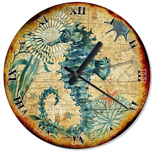 (Nautical Seahorse Wall Clock Wood Wall Clock 30cm (11,8
