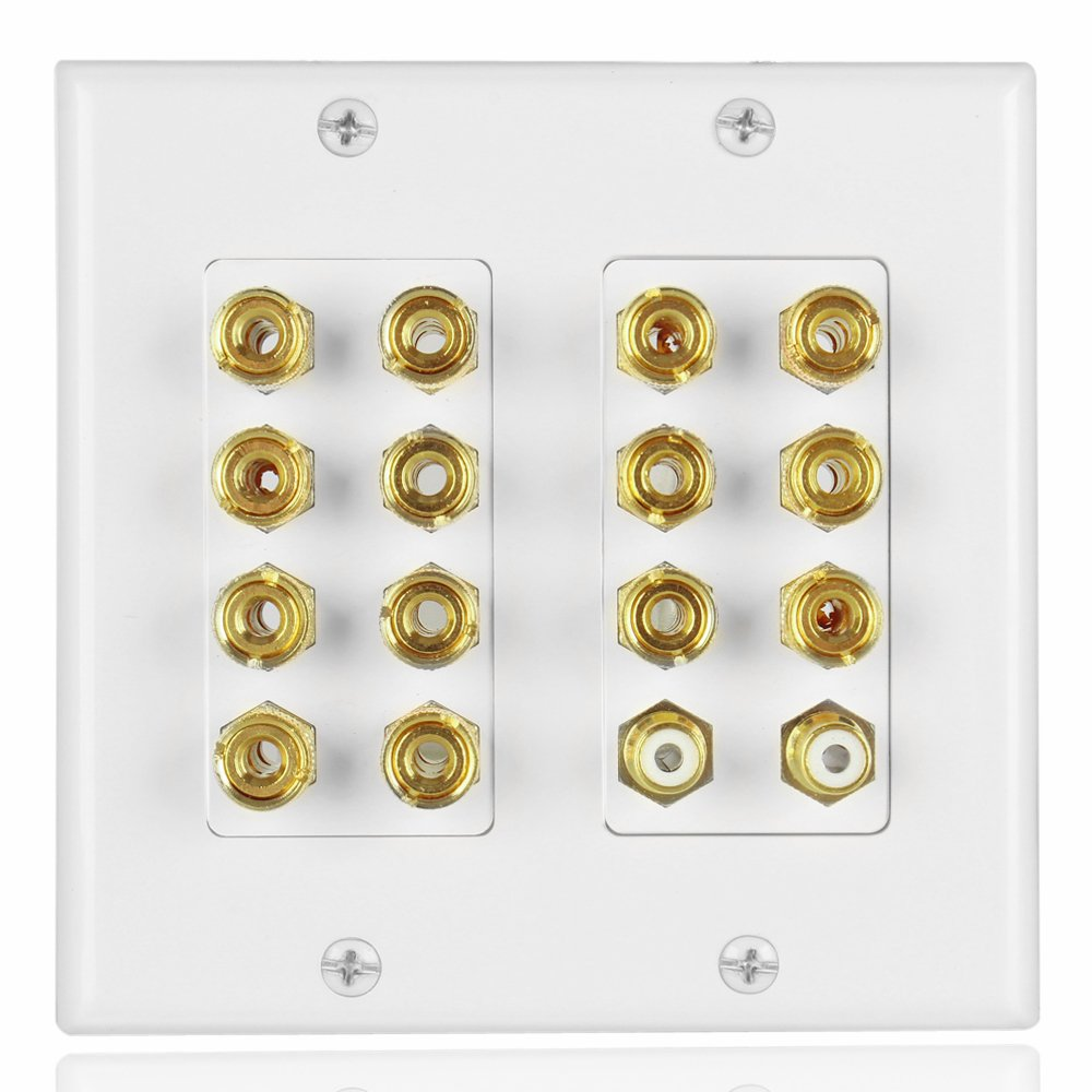 TNP Home Theater Speaker Wall Plate Outlet - 7.2 7.1 Surround Sound Audio Distribution Panel, Gold Plated Copper Banana Plug Binding Post Coupler, 2 RCA LFE Input Jack for Subwoofer (2-Gang)