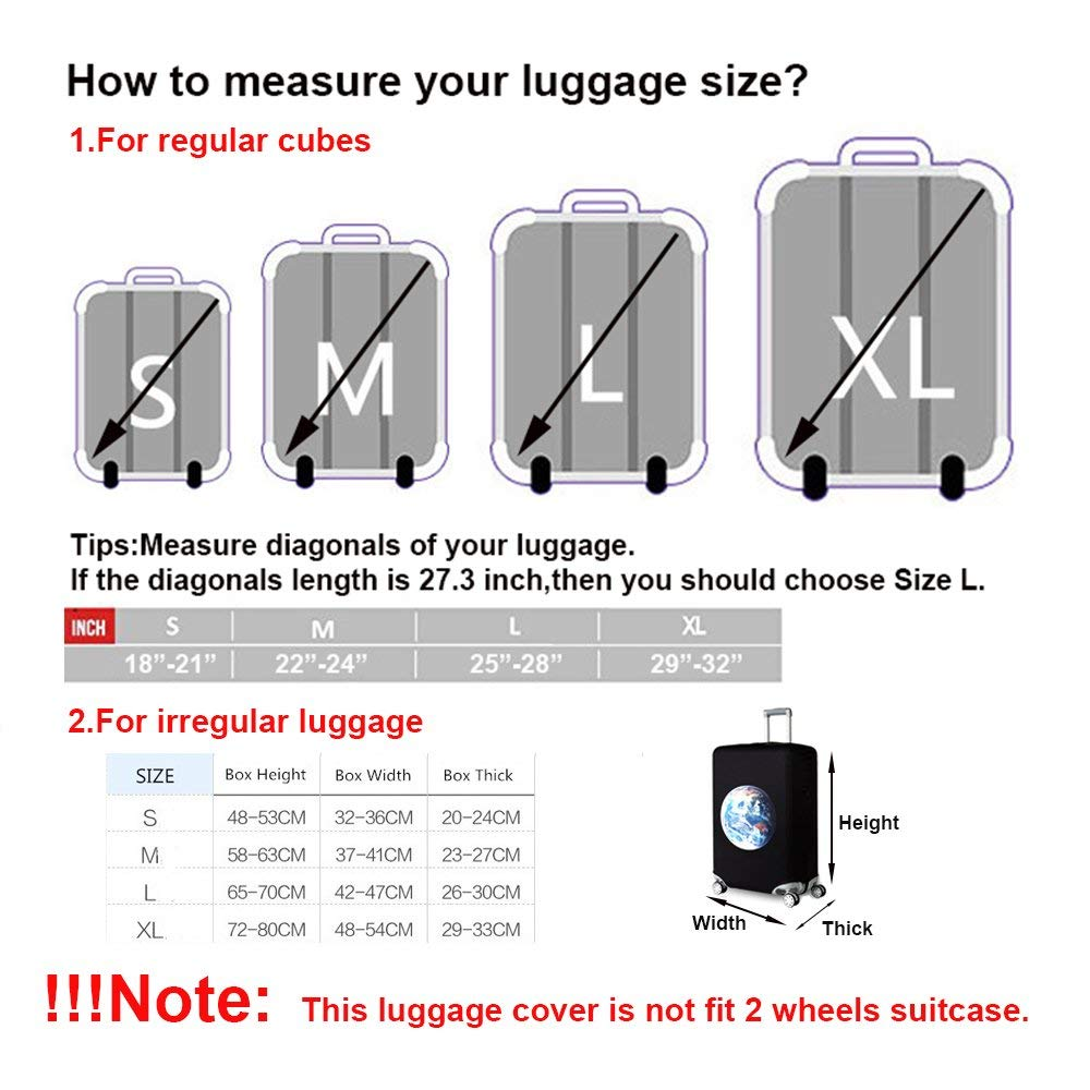TICKRAN Luggage Cover,Design Travel Suitcase Protector Elastic Sleeve Cover Anti-Scratch Luggage Cover Fits 18 to 32 Inch Luggage,E,S