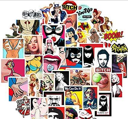50pcs Sexy Girls Pornography Series Sticker Graffiti Stickers para DIY Sticker en Estuche de Viaje Laptop Skateboard Guitarra Fridge Car: Amazon.es: Coche y moto