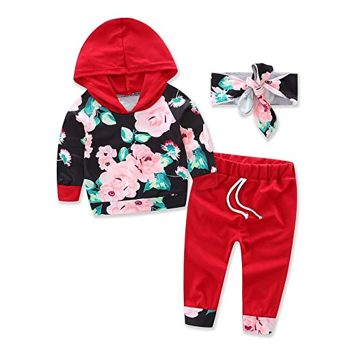 996f6e638 Amazon.com  Baby Girls Cotton Printing T-Shirt Pants Suit Clothes ...