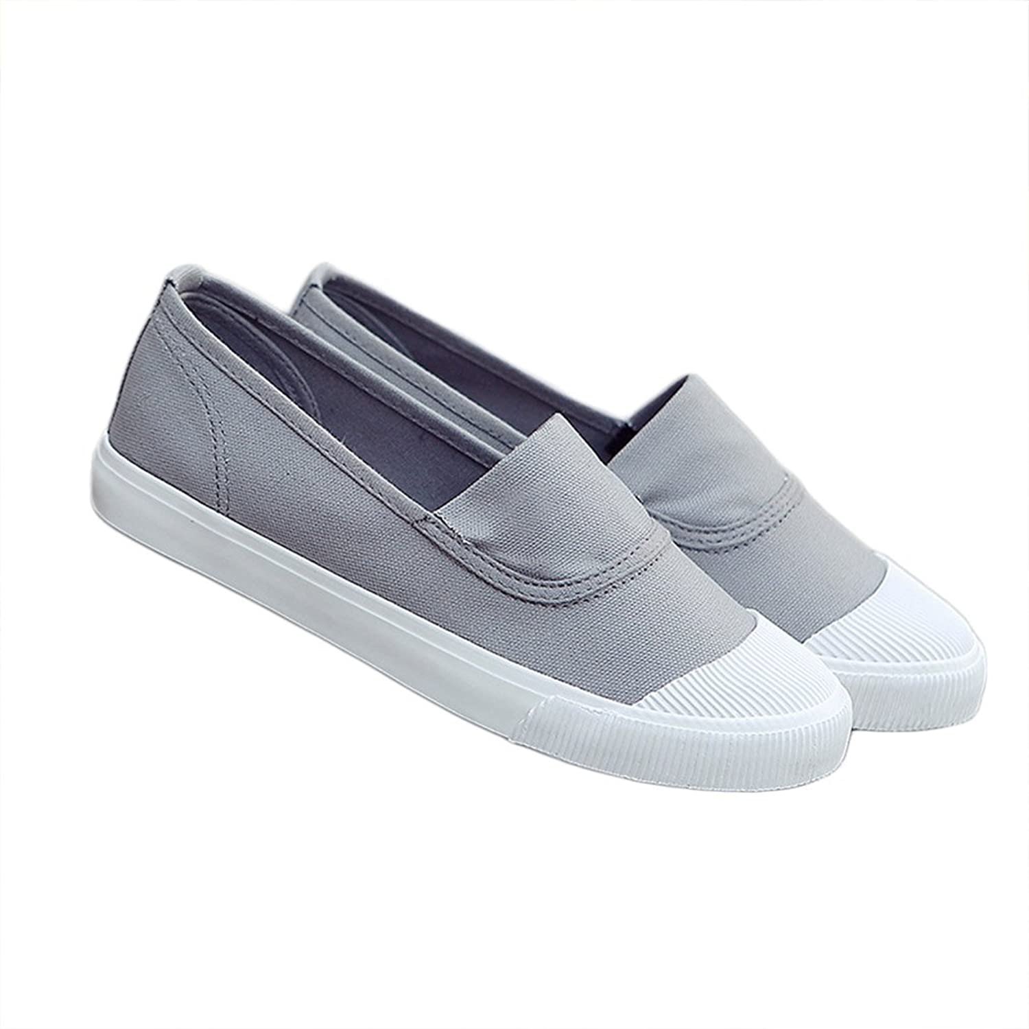 R&V Women's Classic Canvas Slip-On Shoes Walking Flats 4Colors