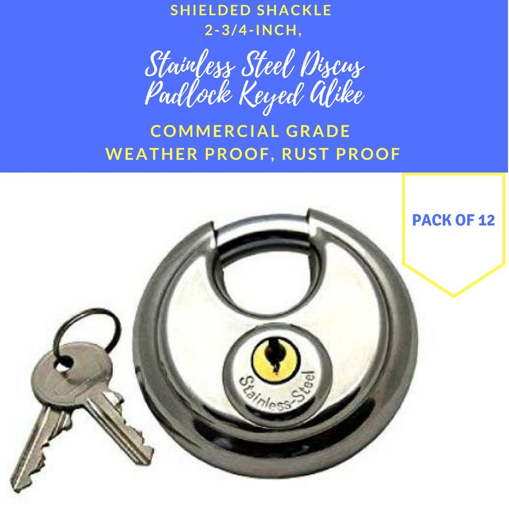 Pack of 12, Stainless Steel Discus Padlocks Keyed Alike 70mm Round Disc Padlock with Shielded Shackle, 2-3/4-inch, Stainless Steel Round Disc Storage Pad Locks All the same key Commercial Grade (12)