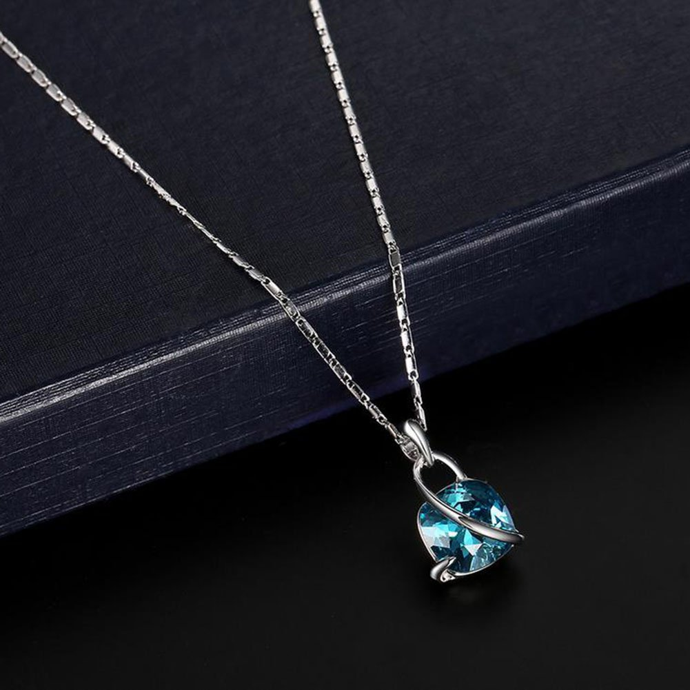 Qifumaer Crystal Pendant Necklaces and Earrings Sets Sterling Silver Jewellery Sets for Women Girls Earrings /& Necklace Necklace Earrings Set Women Alloy Jewelry Decor Wedding Reception Blue