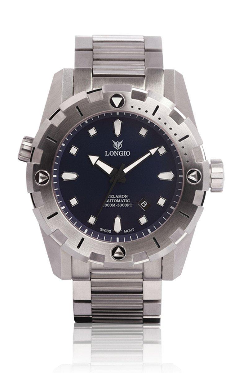 Longio Telamon 1000 mスイス自動Bigサイズ47 mm Pro Dive Watch with Helium Valve回転ベゼルサファイアステンレススチールバンドの拡張子バックル 47mm diameter Blue dial B076M8Q67H Blue dial Blue dial