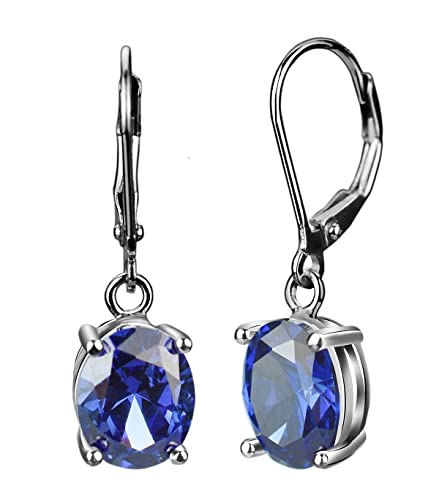 467f5e722637a Elensan Sapphire Clip-On Earrings Jewelry 925 Sterling Silver Blue Crystal  for Woman