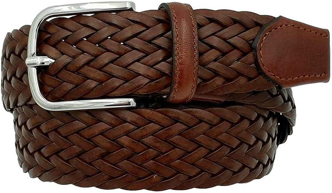 ESPERANTO Cinturón de cuero trenzado y cuero regenerado, de 3,5 cm de altura, hecho a mano en Italia con hebilla hipoalergénica sin níquel