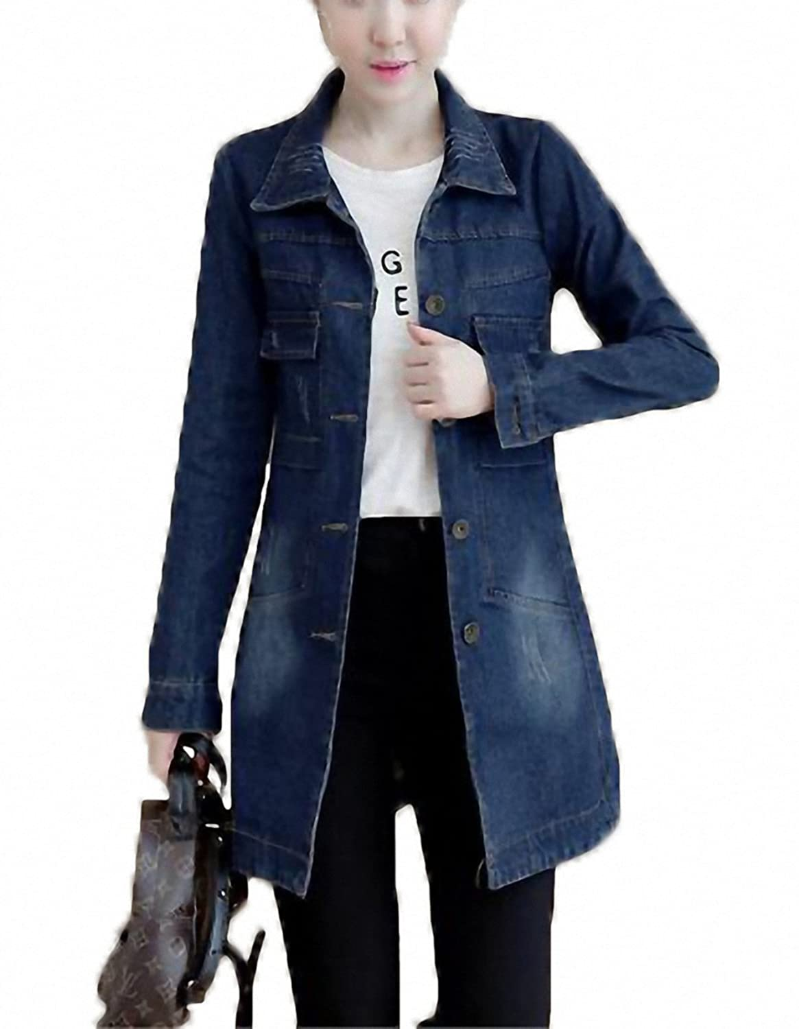 New Denim Jacket Women Korean Fashion Medium Long Jeans Jacket Coat Slim Female camperas mujer abrigo at Amazon Womens Coats Shop