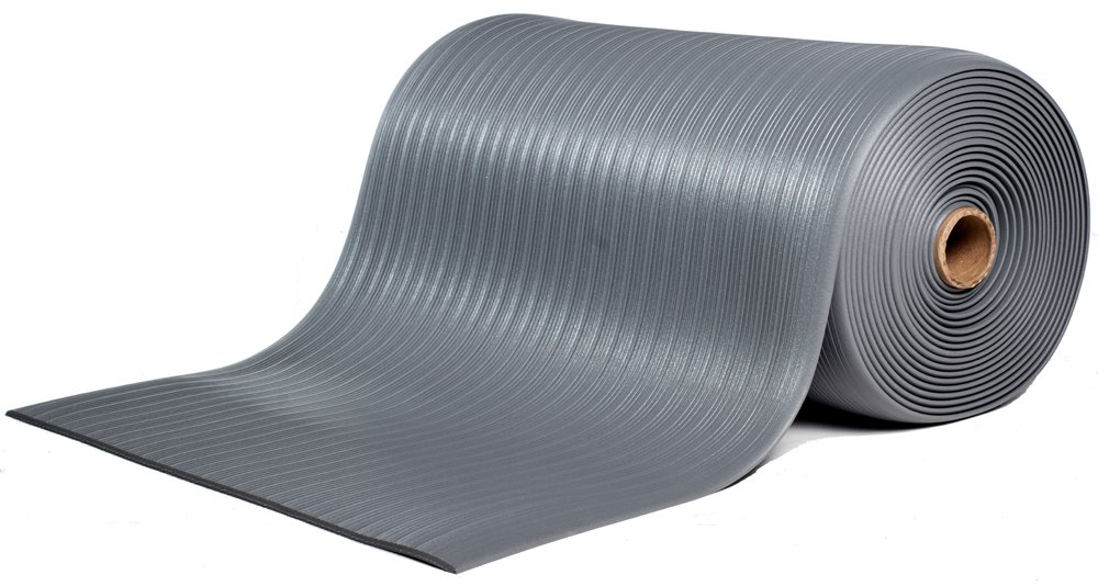 Bertech Anti Fatigue Vinyl Foam Floor Mat, 3' Wide x 15' Long x 3/8'' Thick, Ribbed Pattern, Gray (Made in USA)