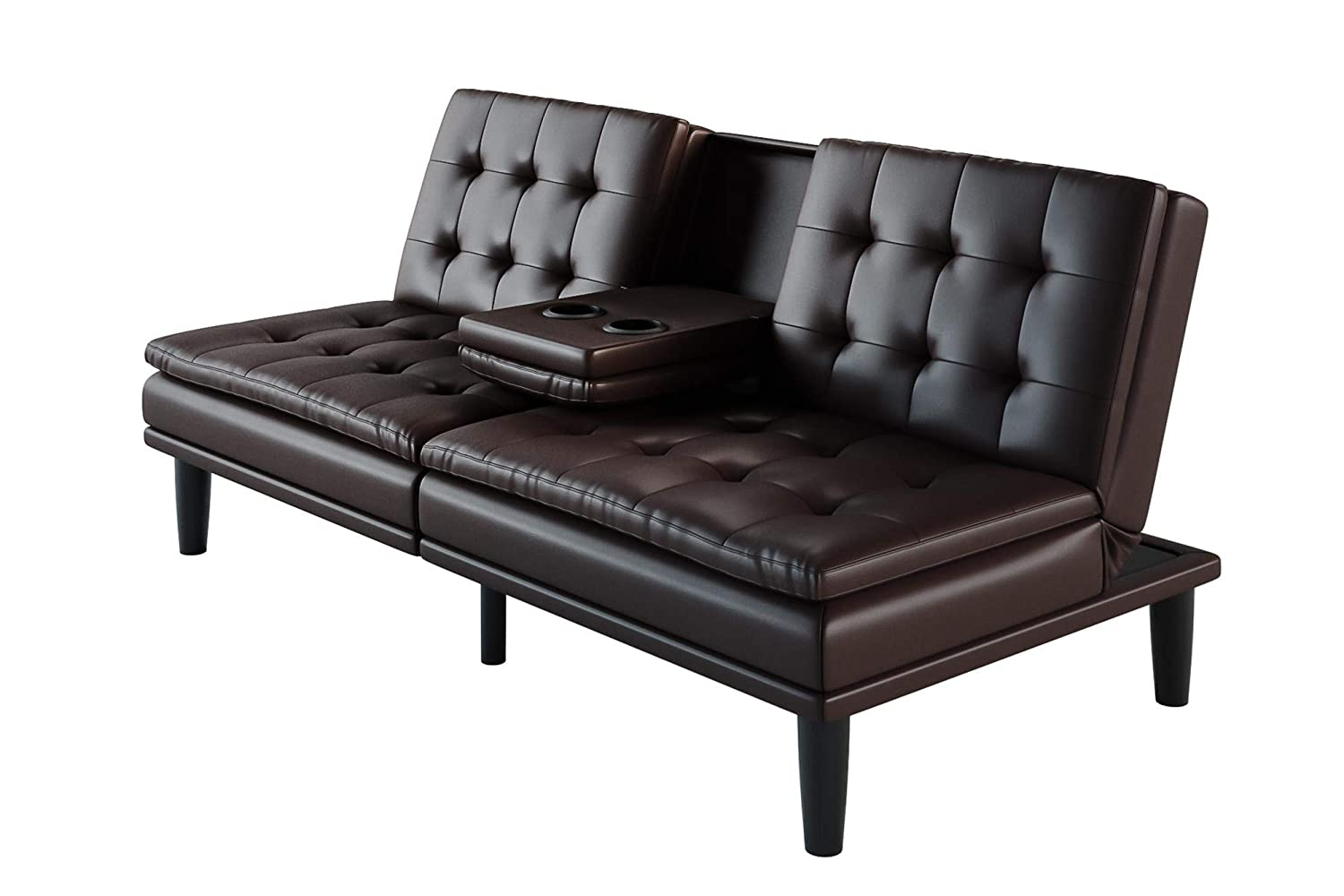 Mainstays.. Long-Lasting and Durable Comfortable Futon (Solid Black,  Leather)