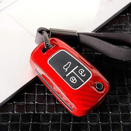 Ontto 3 Taste Autoschlüssel Hülle Cover Für Chevrolet Cruze Camaro Opel Adam Astra Insignia Corsa Cascada Schlüsselhülle Schlüsselanhänger Zinklegierung Schlüssel Etui Fernbedienung Kohlefaser Rot Auto
