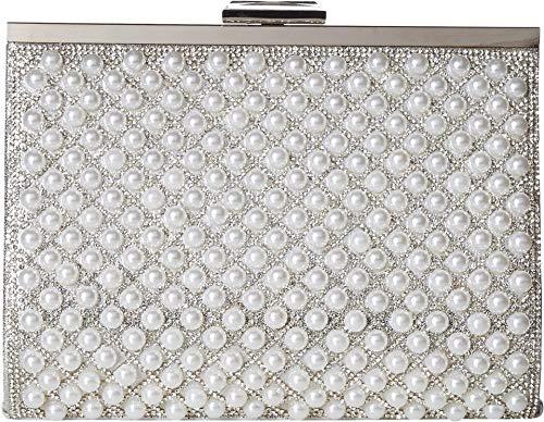 Jessica McClintock Women's Mckayla Pearl Frame Clutch Silver One -