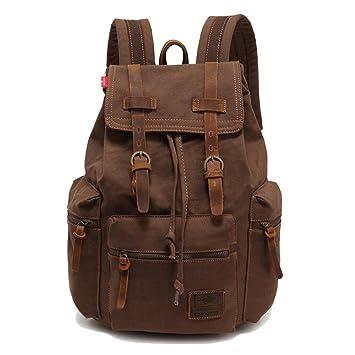 Sac à dos en cuir décontracté unisexe en toile Sac à dos en sac à dos Sac à dos en sac à bandoulière Sac à bandoulière en plein air (café)