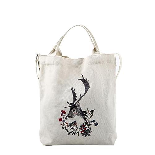 SKY Mujeres Dibujos animados gatos Impreso Beach Bag Canvas Tote Shopping Bolsos Femme Bags (Blanco