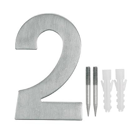 NUZAMAS - Juego de 2 placas para números de puerta, acero ...