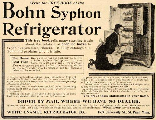1907 Vintage Ad Bohn Syphon Refrigerator Icebox Antique - Original Print Ad