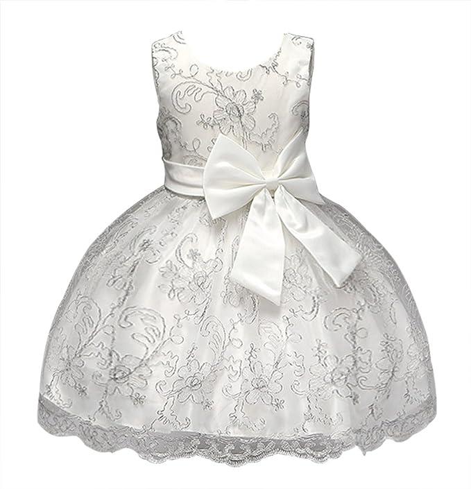 GEMVIE Vestido de Fiesta Boda con Lazo para Niña Princesa Cumpleaños Blanco 10(130CM)