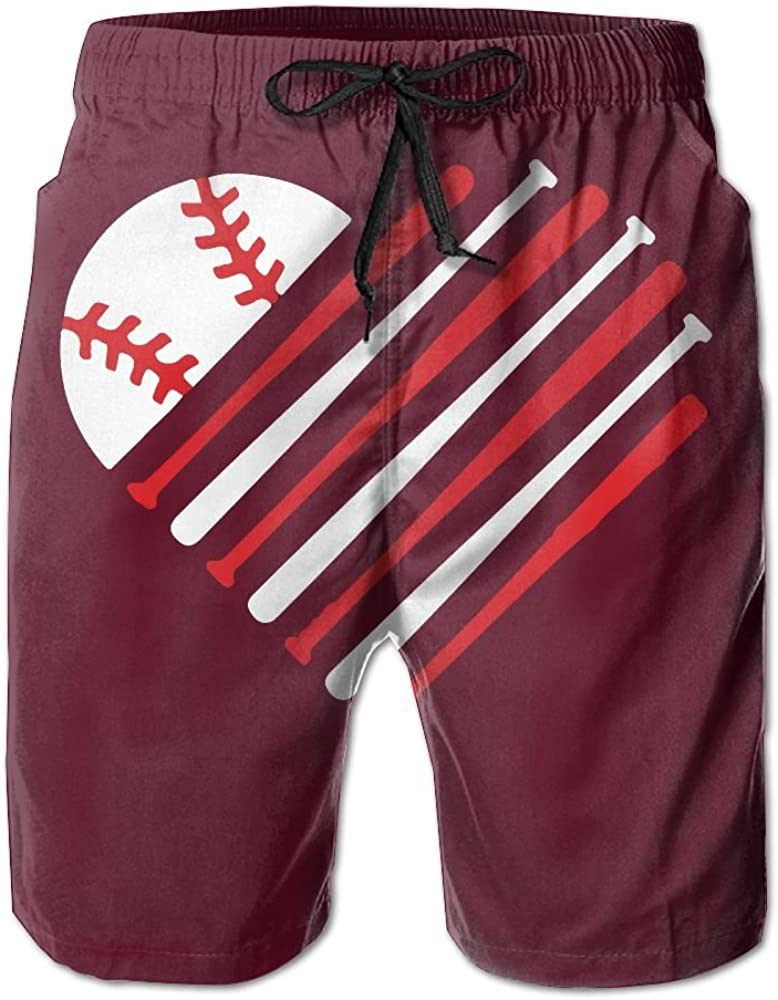 RZM YLY Mens Love Baseball Soccer Swim Trunks Casual Board Shorts