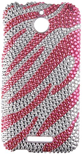 - Eagle Cell Diamond Protector Case for HTC Desire 510 - Retail Packaging - Hot Pink/Silver Zebra