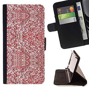BullDog Case - FOR/LG G2 D800 / - / wallpaper tree branch red white twig art /- Monedero de cuero de la PU Llevar cubierta de la caja con el ID Credit Card Slots Flip funda de cuer
