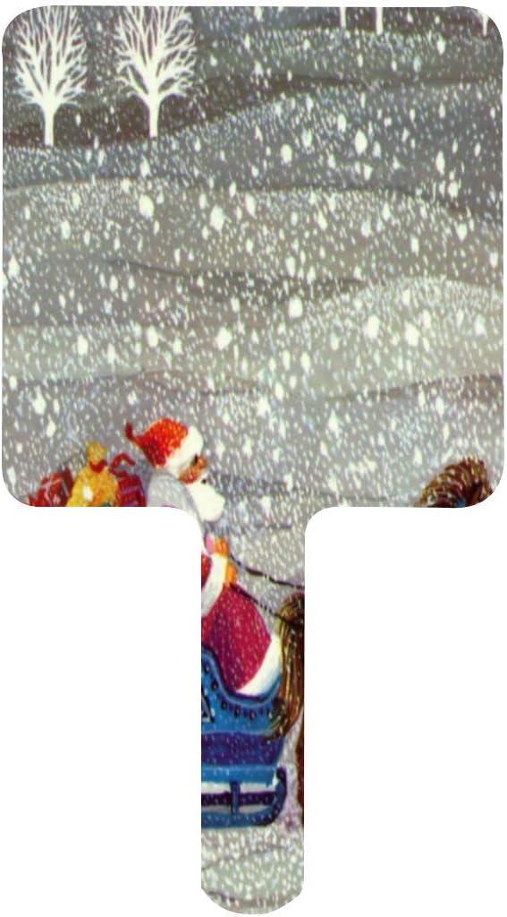 Espejo de mano, diseño de caballo de Santa Claus abierto trineo vintage de Navidad cuadrado con mango para maquillaje en casa, salón de viaje, uso 3.5 pulgadas de ancho x 16.3 cm de largo
