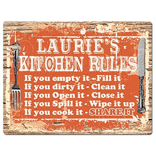 Lauries Kitchen (Welcome LAURIE'S KITCHEN RULES Funny Decorative Sign Vintage Style Retro Rustic 8