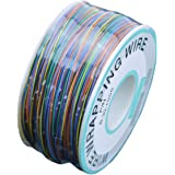 URBEST 305M White PCB Solder PVC Coated Tin Plated Copper Wire Wire-Wrapping 30AWG 105 Celsius Cable Roll (8 Colors)