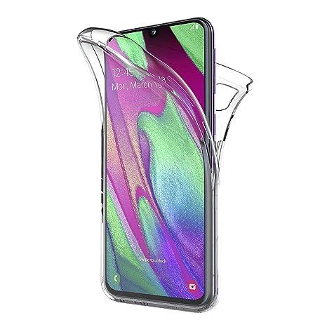 AICEK Funda Samsung Galaxy A40, Transparente Silicona 360°Full Body Fundas para Samsung A40 Carcasa Silicona Funda Case