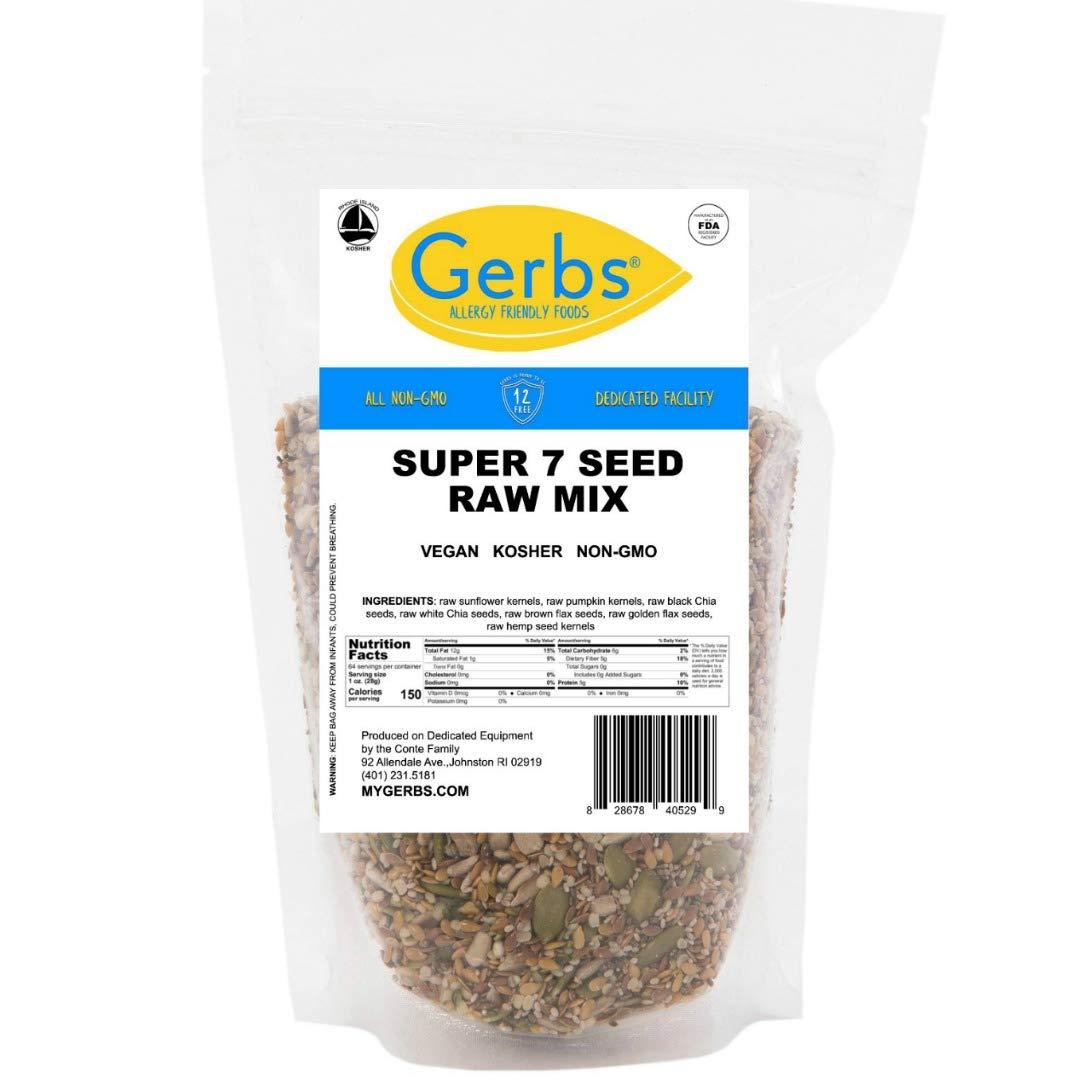 GERBS Raw Super 7 Seed Mix, 64 ounce Bag, Top 14 Food Allergy Free, NON GMO, Vegan, Keto, Paleo Friendly