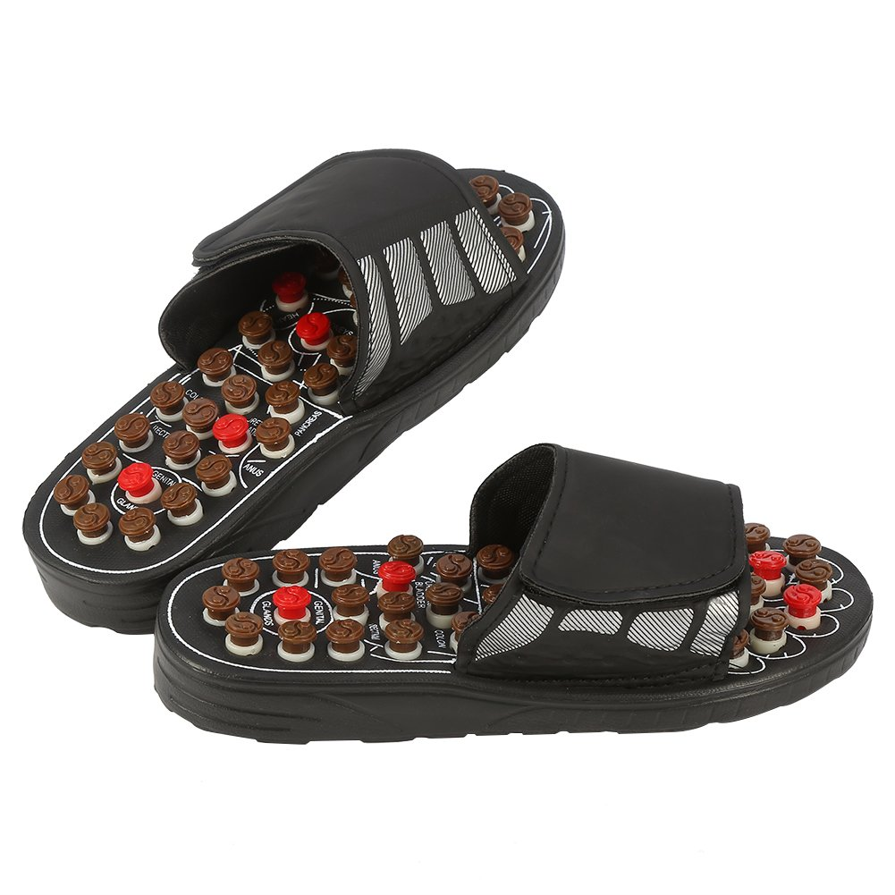 Massage Slippers, Sandals with 41 Acupressure Points for Women and Men, Massage Sandals Shoes to Reduce Foot Pain, Cobblestone Feet Sole Point Massage, Promote Blood Circulation (42-43, Black)