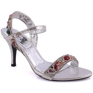 "b82187c83409 Unze Women ""ansa"" Kitten Heel Slider Formal Embellished Stone Wedding  Decorated Sling Back Embellished Toe Strap Open Toe Buckle Closure Evening  Sandals UK ..."