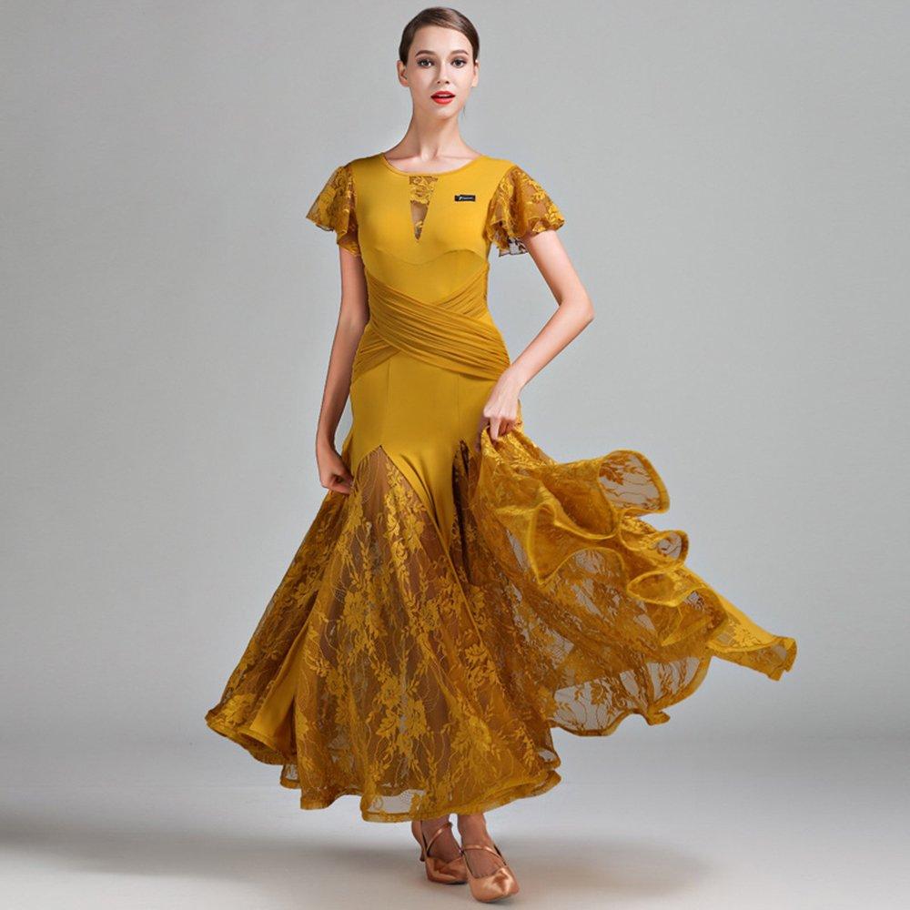 見事な創造力 現代の女性大きな振り子レース半袖モダンダンスドレスタンゴとワルツダンスドレスダンスコンペティションスカートロータスリーフスリーブドレスダンスコスチューム XL|Yellow B07HHP9BLC XL Yellow XL|Yellow Yellow XL, ウェルキューブ:f8615ecd --- a0267596.xsph.ru