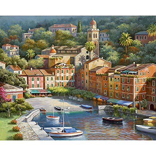 5D DIY Diamond Painting Rhinestone Pictures of Crystals Embroidery Kits Arts, Crafts & Sewing Painting Sunny Venice Town 12x20 Inch