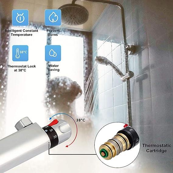 Mischbatterie Dusche Thermostate 130-170mm Temperaturkontrolle Für 1//2 Schläuche