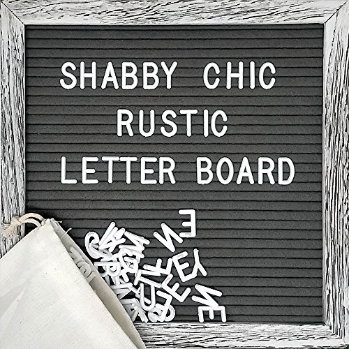 Felt Letter Board Set with 10x10 inch, Shabby Chic Farmhouse Rustic Wood Frame, Gray Felt, Changeable Message with 360 Precut White Letters, Emojis, Wall Hook, Canvas Bag and Stand