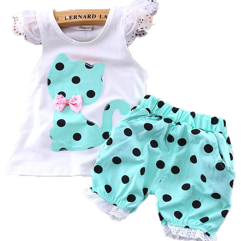 Monvecle Baby Girl Boys to Toddler 2-pcs Cotton Short Sleeve Top + Shorts Set