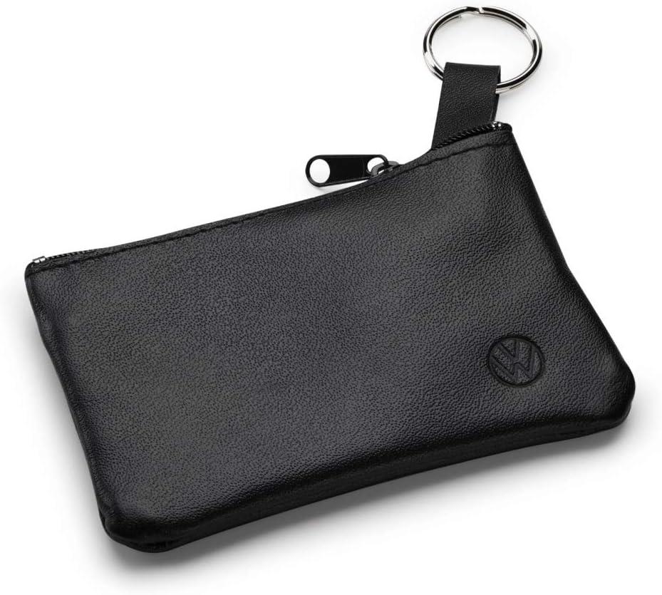Volkswagen 000087402d Schlüsseltasche Etui Leder Schlüsselanhänger Mit Neuem Vw Logo Schwarz Auto