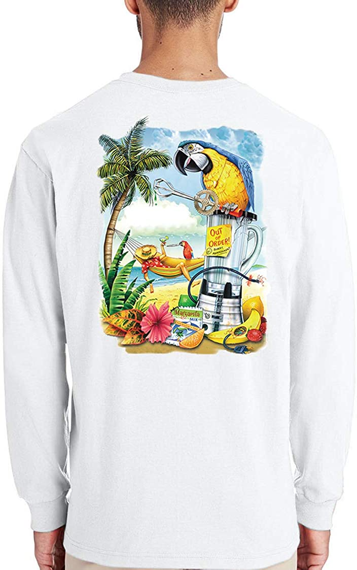 Good Life Men's Long Sleeve 100% Cotton Parrot Blender Beach T-Shirt