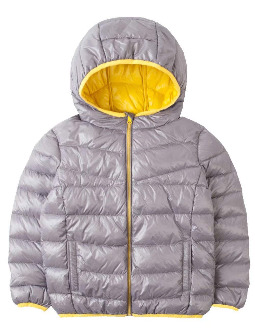 Spring&Gege Kids' Quilted Packable Hoodie Lightweight Puffer Jacket Windproof Outwear Children Warm Duck Down Coat for Boys and Girls Size 5-6 Years Gray/Yellow