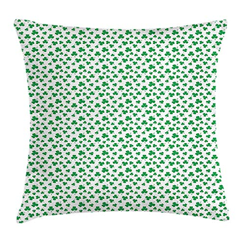 YXZILH Shamrock Throw Pillow Cushion Cover, St Patrick's Day Pattern Lucky Irish Clover Traditional Holiday Design, Decorative Square Accent Pillow Case, 18 X 18 inches, Fern Green and White