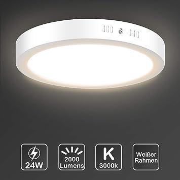 LED Deckenleuchte, Uchrolls LED Deckenlampe 24W, Ersetzt 150W  Glühbirne,2000LM,Warmweiß 3000K, Ø30cm,Rund Metall Rahmen,Modern Led  Deckenleuchten ...
