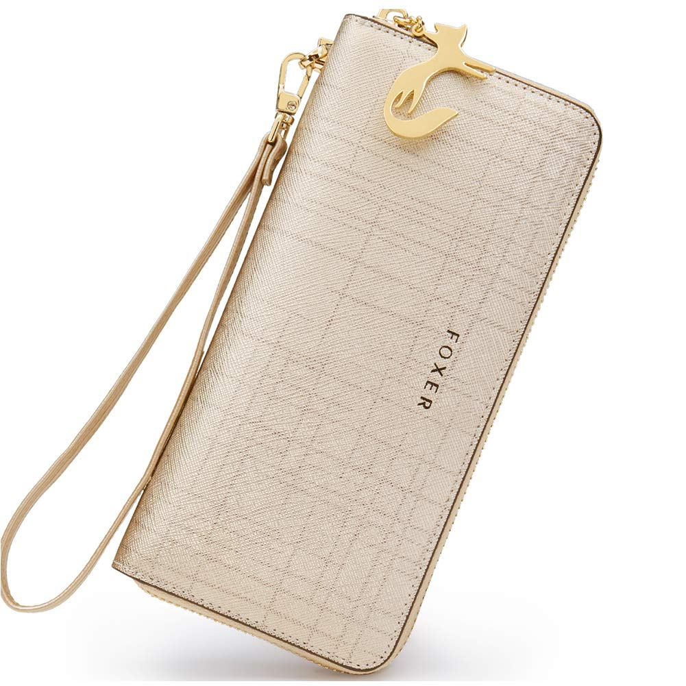 CDM product FOXER Women Leather Wallet Bifold Wallets Lady Clutch Wallet with Wristlet Card Holder (gold) big image