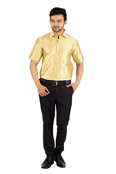 618025a7327aa Khoday Williams Men s Slub Less Dupion Pure Silk Gold Colour Half Hand s  Shirt (Size